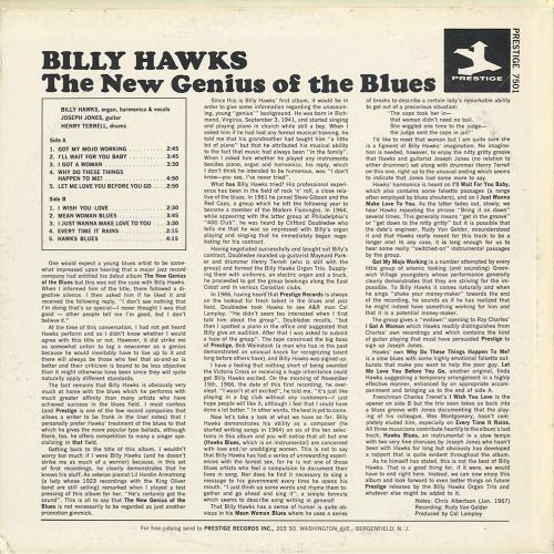 The New Genius Of The Blues LP back