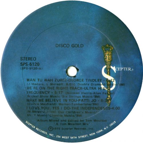 Disco Gold LP label courtesy of Dean Rudland