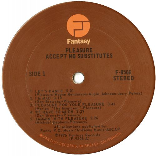 Accept No Substitutes LP label courtesy of Dean Rudland