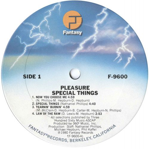 Pleasure 'Special Things' LP label 1