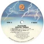 Pleasure 'Special Things' LP label 2