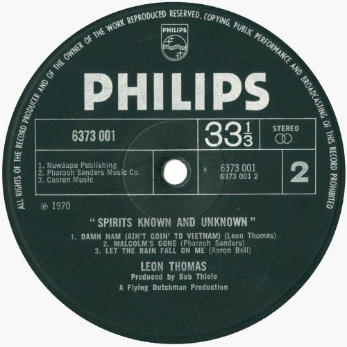 Spirits Known And Unknown LP label