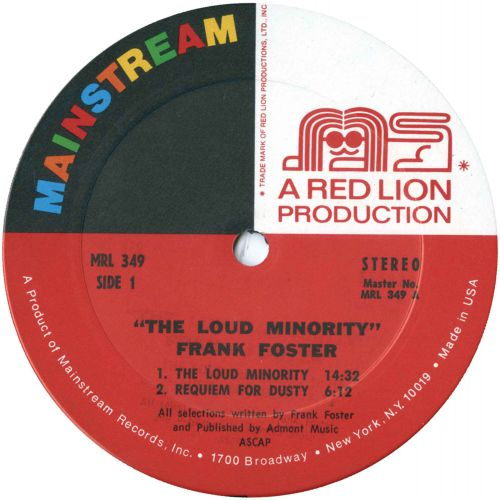 Frank Foster 'The Loud Minority' LP label side 1