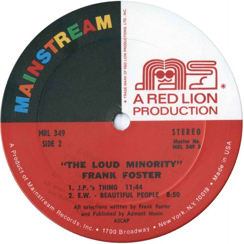 Frank Foster 'The Loud Minority' LP label side 2