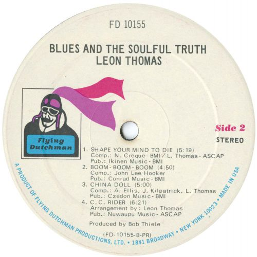 Leon Thomas 'Blues And The Soulful Truth' LP label 2