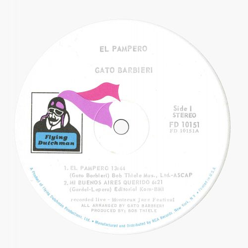 El Pampero LP label side 1