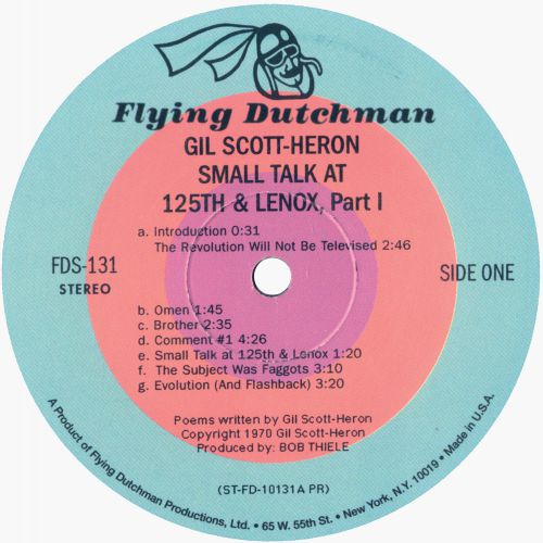 Small Talk At 125th And Lenox LP label side 1