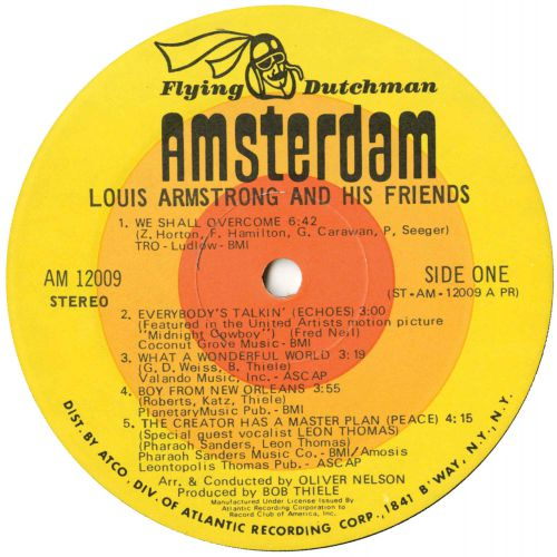 Louis Armstrong And His Friends LP label side 1