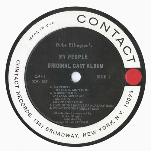 Duke Ellington's My People LP label side 2