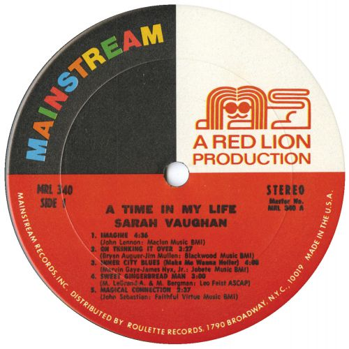 A Time In My Life LP label side 1