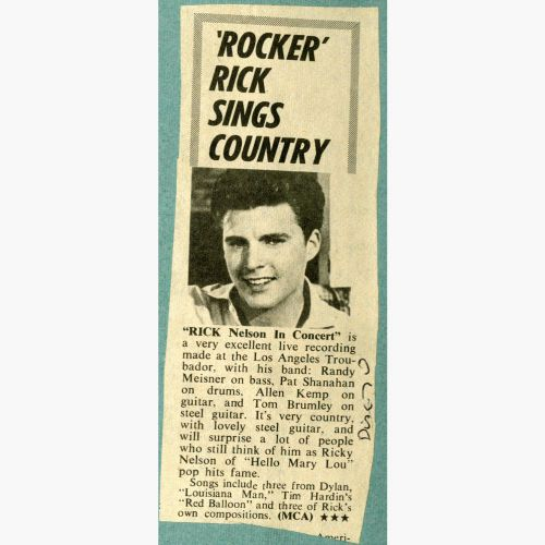 Rick Nelson press clipping