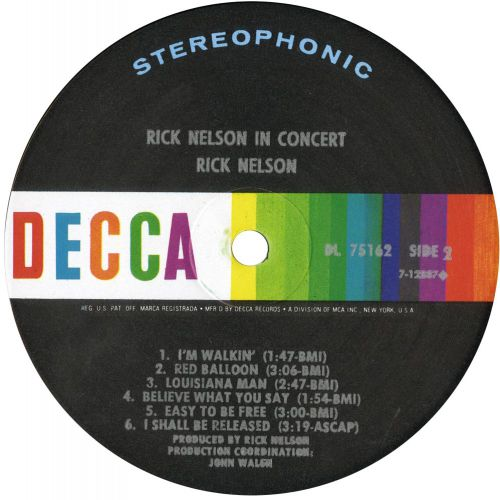 Rick Nelson In Concert LP label courtesy of Iain Young