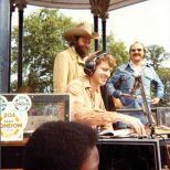 Charlie Gillett with Jerry Allison and Sonny Curtis of the Crickets, Clapham Common, September 1977