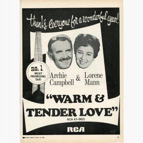 Archie Campbell and Lorene Mann 'Warm And Tender Love' advert