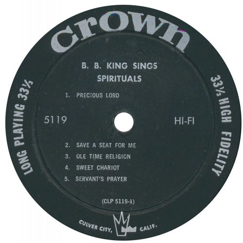 B.B. King Sings Spirituals LP side 1