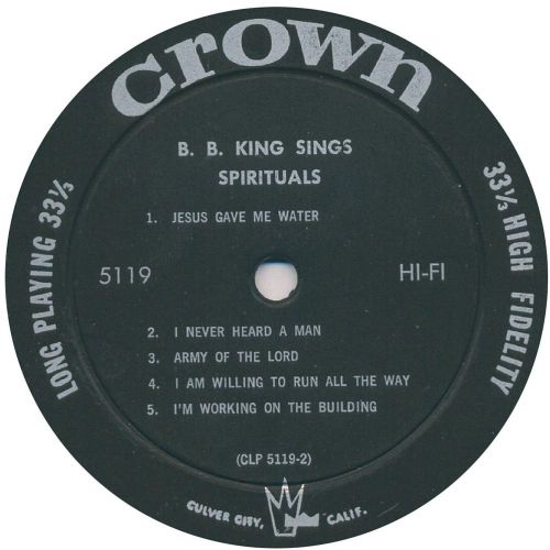 B.B. King Sings Spirituals LP side 2