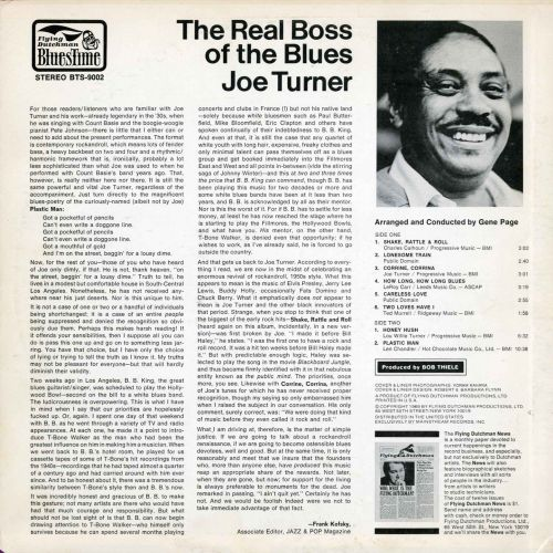 Joe Turner 'The Real Boss Of The Blues' LP back cover