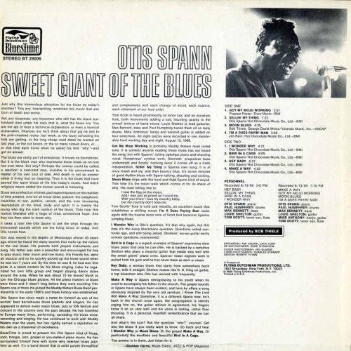 Otis Spann 'Sweet Giant Of The Blues' LP back cover