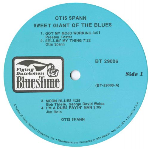 Otis Spann 'Sweet Giant Of The Blues' label side 1