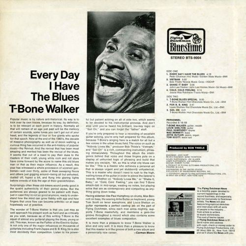 Every Day I Have The Blues LP back cover