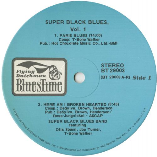 Super Black Blues LP label side 1