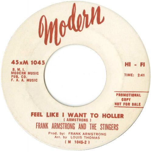 Frank Armstrong & the Stingers 'Feel Like I Want To Holler' courtesy of Ady Croasdell
