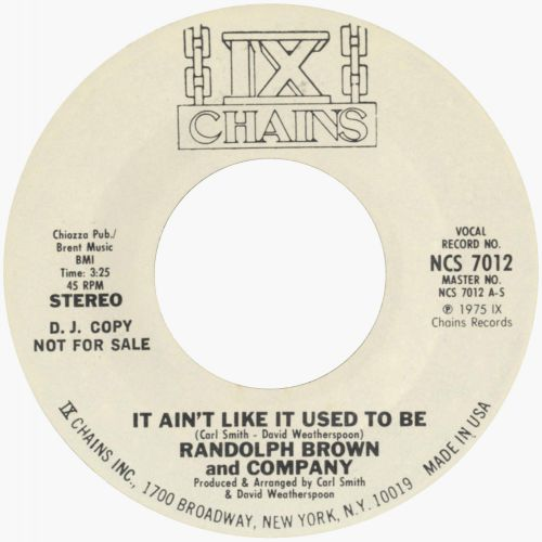 Randolph Brown 'It Ain't Like It Used To Be'