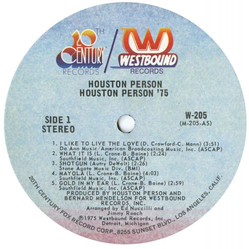 Houston Person - Get Out'A My Way! LP label side 1