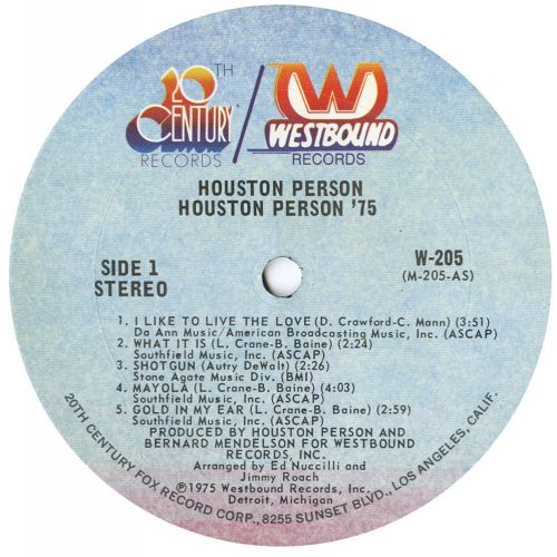 Houston Person - Get Out'A My Way! LP label side 2