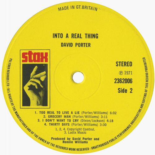 David Porter '...Into A Real Thing' side 2
