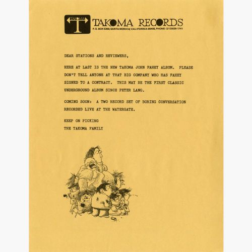 John Fahey press release courtesy of Roger Armstrong
