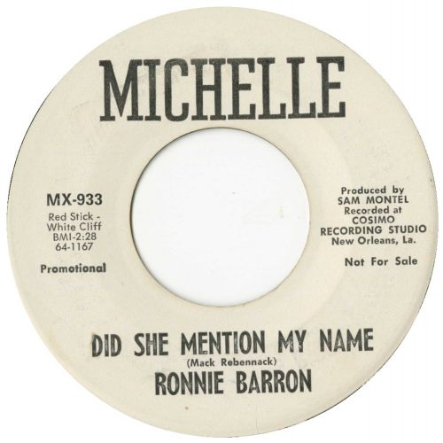 Ronnie Barron 'Did She Mention My Name'
