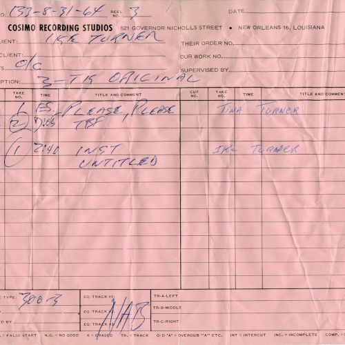 Ike Turner track sheet