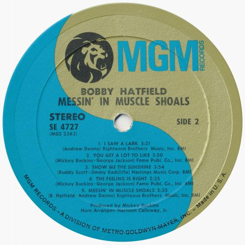 "Bobby Hatfield ""Messin' In Muscle Shoals"" (LP Label)"