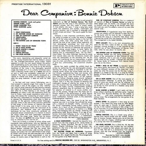 Dear Companion LP back cover