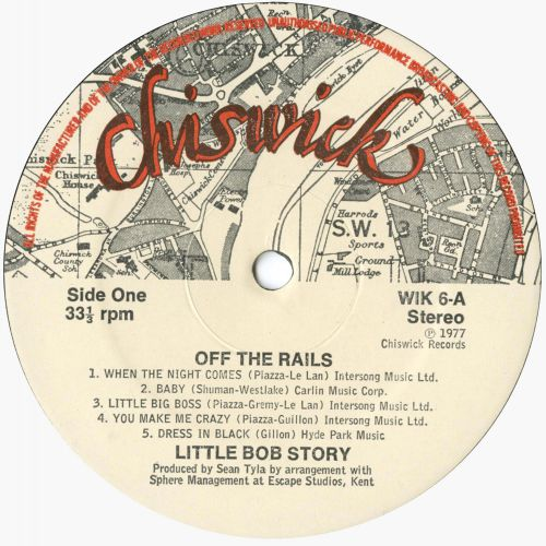 Little Bob Story 'Off The Rails' LP label side 1