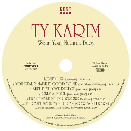 Wear Your Natural Baby LP label side 2