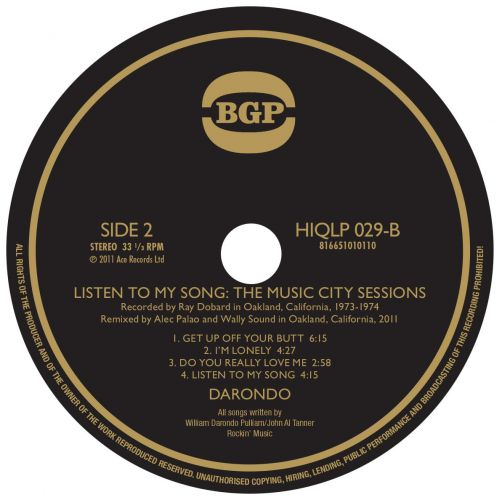 Listen To My Song: The Music City Sessions LP label side 2