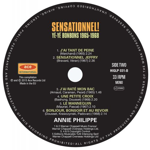 Sensationnel! Yé-Yé Bonbons 1965-1968 LP label side 1