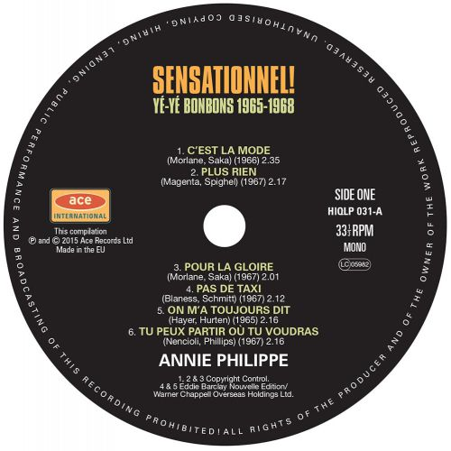 Sensationnel! Yé-Yé Bonbons 1965-1968 LP label side 2