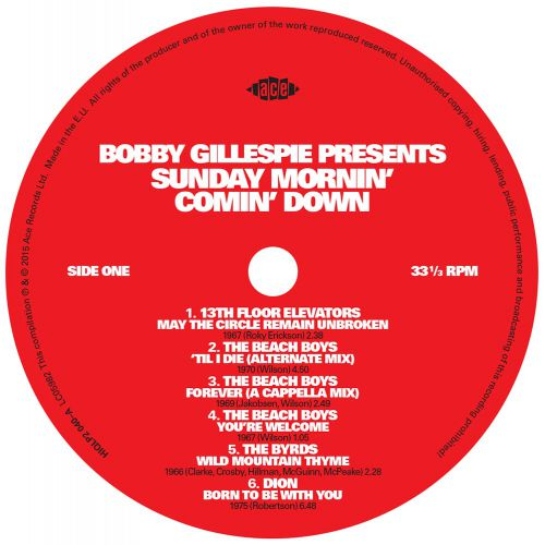 Bobby Gillespie Presents Sunday Mornin' Comin' Down LP label side 1