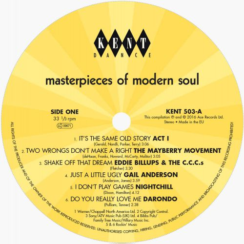 Masterpieces Of Modern Soul label side 1