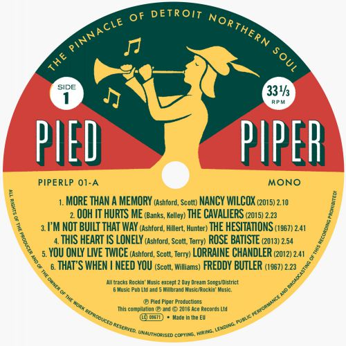 Pied Piper: The Pinnacle Of Detroit Northern Soul LP label 1