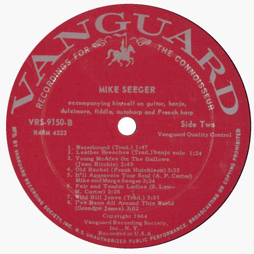 Mike Seeger LP label courtesy Ace Records Ltd