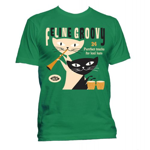 Feline Groovy T Shirt Irish Green [167]