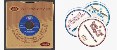 Ace Records 25th Anniversary CD Sleeve and Promo Beer Mats
